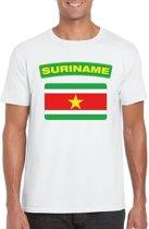 Suriname t-shirt met Surinaamse vlag wit heren L