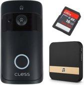 Deurbel met camera incl. 16GB - inclusief chime, oplaadbare batterijen - Draadloze Deurbel - Video deurbel - Intercom - Zwart