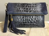 Clutch Croco Leather Blue