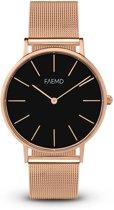 FAEMD Soleil Mesh Series - Horloge - Dames - Classic Rosé Goud/Zwart - Mesh - Rosé Goud - Ø 37 mm