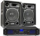 DJ geluidsinstallatie met Bluetooth - MAX10 DJ luidsprekers + Bluetooth versterker combinatie - 1000W
