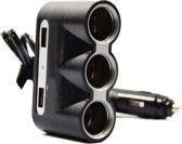 auto 12v splitter stekkerdoos 3-voudig met 2 USB poorten
