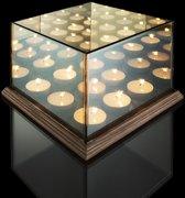Waxinelichthouder met Spiegelglas -  9 Waxinelichtjes - Geven een Oneindige Verlichting - Sfeerverlichting - Hout & Glas