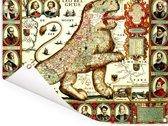 Historische landkaart van het oude Nederland Tuinposter 160x120 cm - Tuindoek / Buitencanvas / Schilderijen voor buiten (tuin decoratie) XXL / Groot formaat!