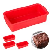 relaxdays 4x siliconen bakvorm - rechthoekig - cakevorm - taartvorm - broodvorm - rood