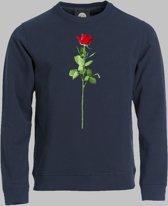 Sweater M Valentijnsdag met een rode roos van liefde op je shirt - Darknavy - M - XXXL Sporttrui