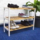 Schoenenrek bamboe Kleur: HOUT - WIT - Houten Schoenenplank - 3 Etages schoenen rek