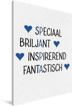 Cadeau met tekst voor vader - Papa blauw Canvas 80x120 cm