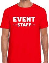 Event staff tekst t-shirt rood heren - evenementen crew / personeel shirt XL