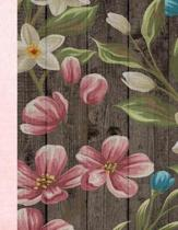 Flowers On Fence Design 8.5 x 11 150 Pages Journal Notebook