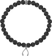 Heren armband met stalen elementen - Lavasteen 6 - cm) - zwart / zilverkleurig