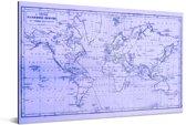 Wereldkaart met magnetic curves en paarse tinten Aluminium 120x80 cm
