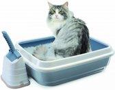 Imac kattenbak duo met kattenbakschep romeo blauw / wit 59x40x28 cm