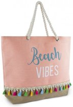 Luna Cove Beach Vibes Strandtas Shopper Canvas Jute Licht Roze