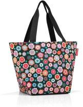 Reisenthel Shopper M Handtas - Shopper - Maat M - Polyester - 15L - Happy Flowers Zwart; Multi Kleur