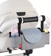 Insular® Wandelwagen Organizer - Grijs - Buggy Bag - Kinderwagen Tas - Bekerhouder - Telefoon Houder - Luiers - Kinderen - Baby Accessoires