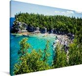 Kust van het Nationaal park Bruce Peninsula in Canada Canvas 140x90 cm - Foto print op Canvas schilderij (Wanddecoratie woonkamer / slaapkamer)