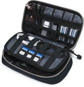 Kabel Organizer Tas Deluxe – 3 lagen - Travel Organizer - Kabeltas - Sunflake - Zwart Grijs