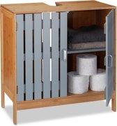 relaxdays wastafelonderkast - bamboe - onderbouwkast wastafel - met uitsparing - hout