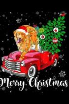 Merry Christmas: Merry Christmas Golden Retriever Ride Red Truck Hat In Snow Journal/Notebook Blank Lined Ruled 6x9 100 Pages
