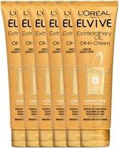 L'Oréal Paris Elvive Extraordinary Oil Haarcrème - 6 x 150 ml - Voordeelverpakking