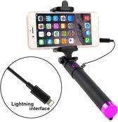 Selfie stick voor Smartphone - licht gewicht voor iPhone 7 & iPone 7 PLUS  / iPhone 8 / iPhone 8 PLUS / iPhone X / iPhone XS / iPhone XS Max & iPhone XR – Zwart & Roze knopje/Roze onderkant