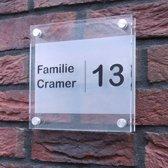 Naambordje voordeur! - Modern naambord van 2 lagen acrylglas  -  Frosted-look 20x20 cm