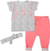 Dirkje Meisjes Kledingset - White aop + neon pink - Maat 74