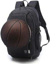 Multifunctionele student basketbal tas mannen outdoor wandelen fitness sporttas  met externe USB-Oplaadpoort (zwart)