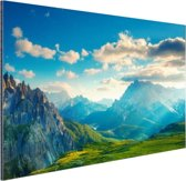 Zonsondergang in de bergen Aluminium 180x120 - XXL cm - Foto print op Aluminium (metaal wanddecoratie)