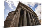 Ondersteunende pilaren aan de voorkant van het Pantheon in Rome Aluminium 120x80 cm - Foto print op Aluminium (metaal wanddecoratie)