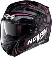 NOLAN N87 LEDLIGHT N-COM GLOSSY ZWART ROZE M