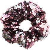 Scrunchie 1 stuks Pailletten Exclusief Feestelijk Kerst - haarelastiek haarwokkel scrunchies - roze pailletten - Kraagjeskopen.nl