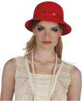 Rood dames hoedje met lintje