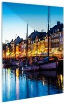 Nyhavn by night Glas 60x90 cm - Foto print op Glas (Plexiglas wanddecoratie)