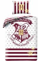Harry Potter Hogwarts Dekbedovertrek - Eenpersoons - 140x200 cm - Wit