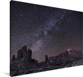 Melkweg boven het Nationaal park Teide in Spanje Canvas 180x120 cm - Foto print op Canvas schilderij (Wanddecoratie woonkamer / slaapkamer) XXL / Groot formaat!