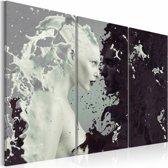 Schilderij -Vrouw Abstract , zwart wit , 3 luik