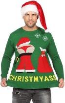 Groene kerst trui met mooning Kerstman voor heren 52 (L)