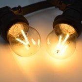 Prikkabel set met LED lampen, 10 meter met 10 fittingen - 3 watt dimbare filament lampjes 2000K