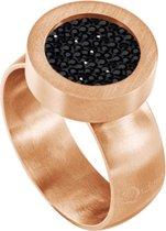 Quiges RVS Schroefsysteem Ring Rosékleurig Mat 16mm met Verwisselbare Zirkonia Zwart 12mm Mini Munt
