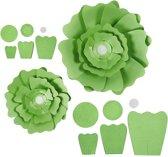 Papieren bloemen, d: 15+25 cm, 230 gr, groen, 2stuks