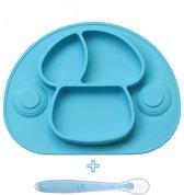 Baby placemat met antislip zuignappen + baby lepel - 100% silicone, geen rubber - Bordje voor baby's, peuters en kinderen - siliconen bord - met zuigbodem - maaltijd placemats - Licht blauw