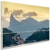 Hoge bergtoppen Rio de Janeiro Hout 60x40 cm - Foto print op Hout (Wanddecoratie)