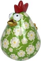 Pomme pidou spaarpot kip Matilda XL - Uitvoering - Groen met witte bloemen
