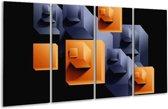 Glasschilderij Art | Oranje, Zwart, Grijs | 160x80cm 4Luik | Foto print op Glas |  F005557