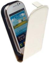 LELYCASE Premium Flip Case Lederen Cover Bescherm  Hoesje Samsung Galaxy Fame S6810 Creme