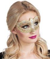 Goudkleurige Venetiaanse masker voor vrouwen - Verkleedmasker