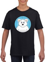 Kinder t-shirt zwart met vrolijke ijsbeer print - ijsberen shirt M (134-140)