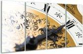Glasschilderij Klok | Bruin, Goud, Wit | 160x80cm 4Luik | Foto print op Glas |  F000741